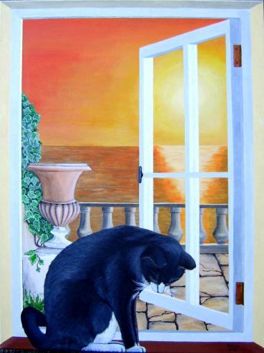 Katze im fenster acryl auf leinwand 60x80 cm - Fenster abdichten acryl ...
