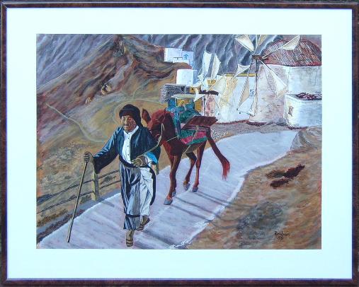Frau mit esel acryl auf karton 40x30 cm for Fenster 70x50